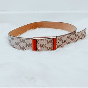 Michael Kors MK Signature Tan Faux Leather Belt